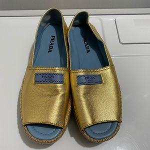 Authentic Prada Gold Peep Toe Espadrilles